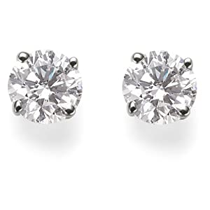 Certified Platinum, Round, Diamond 4-Prong Stud Earrings (1 cttw, G-H Color, VS2 Clarity)