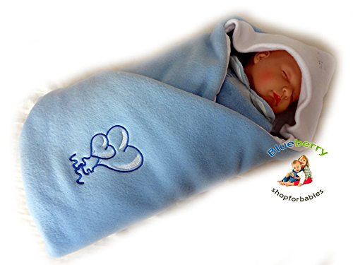 Blueberry Luxurious Very Warm Fleece Swaddle Wrap Blanket Sleeping Bag Birthday Gift Present Blue 1 - 1