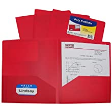 C-Line Two-Pocket Heavyweight Poly Portfolio, For Letter Size Papers, Includes Business Card Slot, 1 Case of 25 Portfolios, Red (33954)