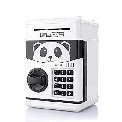 Jhua Cartoon Piggy Bank Password Electronic Money Bank Safe Saving Box ATM Bank Safe Locks Panda Smart Voice Prompt Money Piggy Box for Children/ Christmas Gift