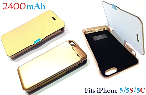 Josi Minea® 2400Mah Gold Design Flip Cover External Rechargeable Battery Charger Power Case Extended Back Up Power Bank With Full Body Protection & Slim Fit Design For Apple Iphone 5 / 5S / 5C (Compatible With Ios 7.0 & Above) - Works With At&T, T-Mobile,