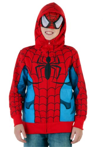 Spider-Man Costume -- Marvel Hoodie Zipper-Fleece Youth/Juvenile Sweatshirt, X-Large (18/20)