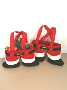 Santa Pants Treat Holder Christmas Totes Gift Bags Includes 6 Bags