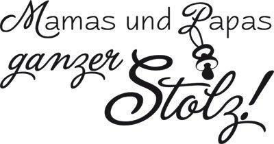Wandtattoo Aufkleber Tattoo für Kinderzimmer Spruch Mamas und Papa stolz (95x50cm//070 schwarz)