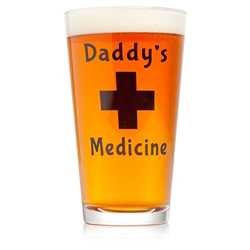 Daddy's Medicine Funny Beer Glass Pint 16 Oz Cool Gift for Him Perfect Father's Day Present Birthday for Men Husband (Correlle Coffee Cups compare prices)