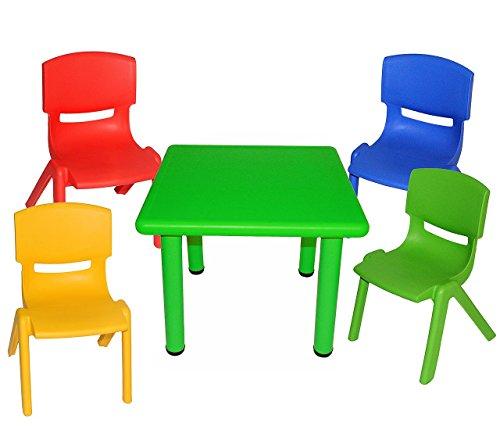 5-tlg-Set-Sitzgruppe-Tisch-4-Kindersthle-BUNT-stapelbar-kippsicher-bis-100-kg-belastbar-fr-INNEN-AUEN-Kindermbel-fr-Mdchen-Jungen-Plastik-Kunststoff-Stuhl-Sthle-Kinderzimmer-Kindertisch-Kinder-Gartenm