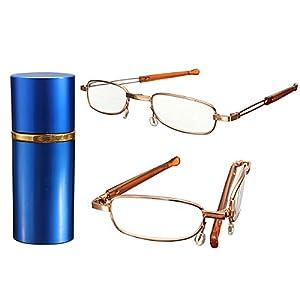 Lesebrille Nerd Brille Lesehilfe Sehhilfe mit Brillenetui in Blau Staerke +1-3.5 (kurzen Absatz)