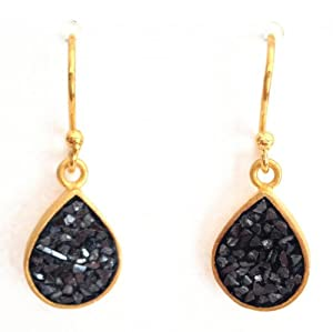 Diamond Drop Earrings - Black Rose cut - 925 silver Plated 24k Gold - Handcrafted Jewelry
