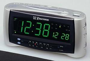 emerson jumbo smartset dual alarm clock radio silver tv. Black Bedroom Furniture Sets. Home Design Ideas