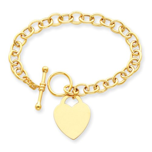 8.5 Inch 14k Gold Heart Charm Bracelet Real Goldia