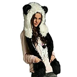 LATH.PIN Husky Faux Fur Full Animal Hood Hoodie Hat 3-in-1 Mittens Gloves Scarf Spirit Paws Ears Christmas Gift (P0002-3)