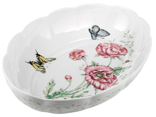 Lenox Butterfly Meadow Fine Porcelain Oval Baker