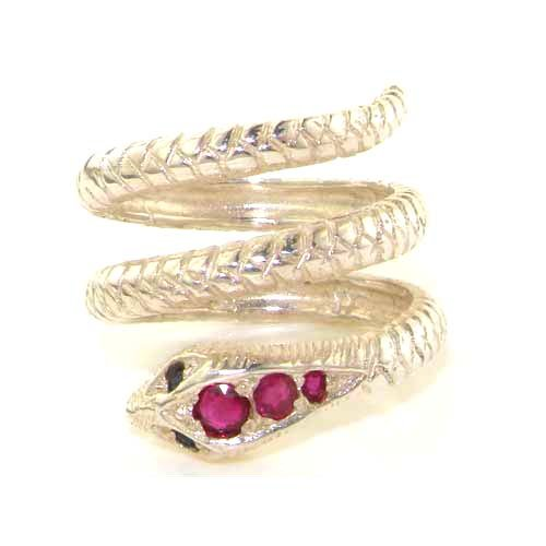 Solid St Silver Natural Ruby & Sapphire Detailed Snake Ring