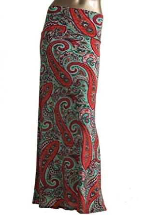 Azules Women's Stretchy Slinky Fabric Maxi Skirt (Small, Red-Jade Paisley)