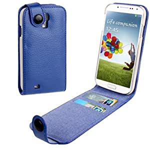 High Quality Lichi Texture Vertical Flip Genuine Leather Case with Credit Card Slots for Samsung Galaxy S4 i9500 (Blue)
