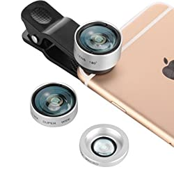 ZOMEi 17mm 3-in-1 Universal Clip On Camera Lens Kit Fish Eye Lens / Macro Lens & Wide Angle Lens for iPhone 6s / 6s Plus / 6 / 5s and other Mobile Phone (Silver)