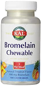 KAL Bromelain Chewable Tablets, Tropical Flavor, 100 mg, 100 Count