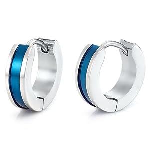 Unique Mens Stainless Steel Hoop Earrings (Silver Blue)