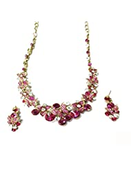 Sneh Alarming Pink & CZ Stone Necklace Set For Women