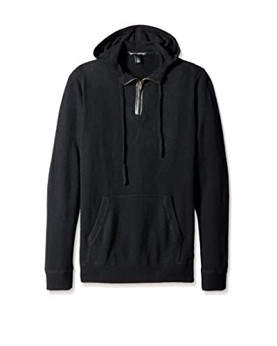 Autumn Cashmere Men's Half Zip Hoodie with Leather Placket and Elbow