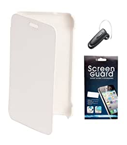 KolorEdge Flip Cover + Screen Protector + Samsung HM1100 Bluetooth Headset For Nokia Lumia 620 - White