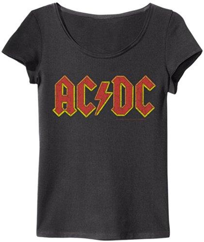 Amplificata maglietta da donna AC/DC Logo Vintage Look Black - Vintage Black Small