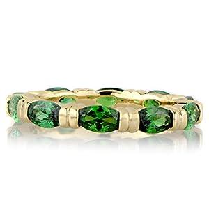 Green CZ Marquise Cut CZ Goldtone Eternity Band
