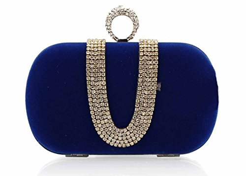 Fanhao Women's Small Shining Beading Party Handbag Purse with Chain Strap,Blue