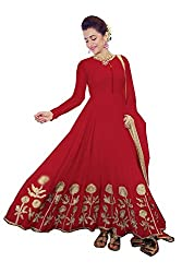 OMSAI FASHION Women's red Georgette Embroidery semi stitched Free Size Salwar Suit Dress Material (Women's trisha red Indian Clothing )