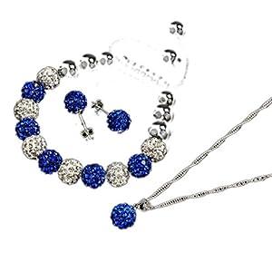 Ukamshop 1PC Lady 10mm Luxus Shiny Crystal Ball Schmucksachen Shamballa Armband Ohrringe Halskette Set New (dunkelblau)