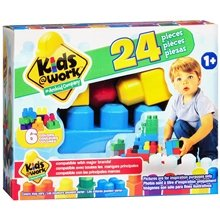 Kids @ Work 24 Piece Building Block Set - Compatible with Major Brands