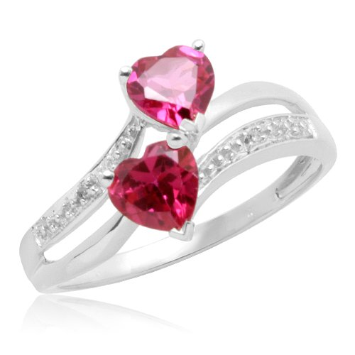 10k White Gold Heart-Shaped Created Ruby with Diamonds Heart Ring, Size 6
