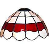 Louis Comfort Tiffany Style White And Red Stained Glass Pendant Light Shade