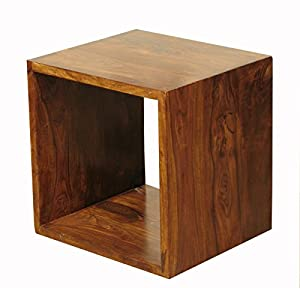 cube sheesham solid wood 1 hole cube shelf unit rosewood hard wood storage compartment. Black Bedroom Furniture Sets. Home Design Ideas