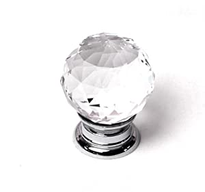 Clear Crystal Glass Faceted Cupboard Knob 30mm x Pack 1 (GLS-03-CHR)