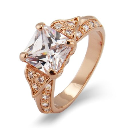 Deco Style Rose Gold Princess Cut CZ Engagement Ring Size 9 (Sizes 5 6 7 8 9 Available)