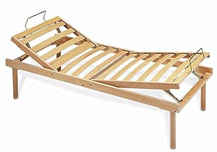 Rete ad alzata a doghe in legno naturale ergonomica manuale - 85x195