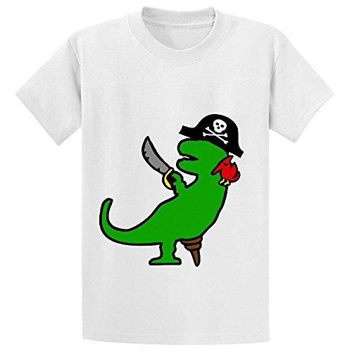 pirate-dinosaur-t-rex-girls-crew-neck-customized-t-shirt-white