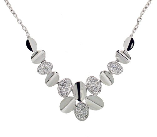 Silver Colour And Clear Crystal Necklet 41 cm, 6 cm extender