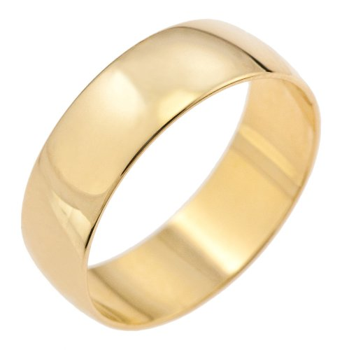 Unisex Wedding Ring, 9 Carat Yellow Gold D Shape, 6mm Band Width