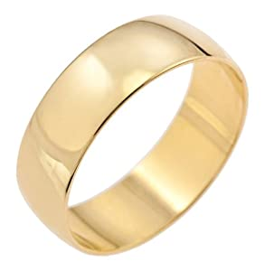 Kareco Unisex Wedding Ring, 9 Carat Yellow Gold D Shape, 6mm Band Width, Size P