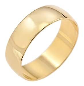 Kareco Unisex Wedding Ring, 9 Carat Yellow Gold D Shape, 6mm Band Width, Size U