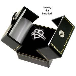 Classic Cartier Design Leatherette Black Double Doors Ring Gift Box