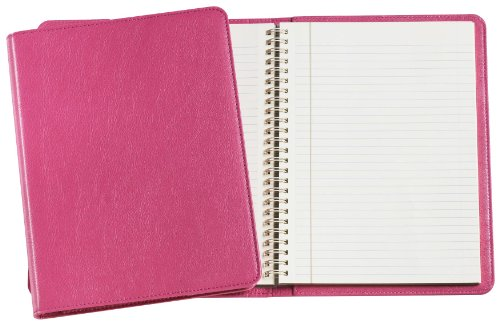 Graphic Image Wire-O-Notebook, Goatskin Leather, 9-Inches, Pink (JS9MRBLGTIPNK)