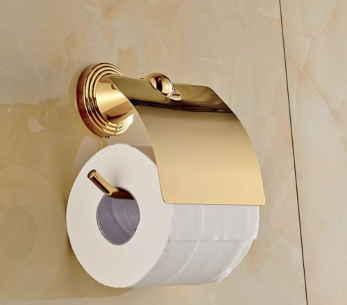 Toilet Paper Holder Decorative, Luxury Gold Brass Wall Mounted Bathroom Roll Toilet Paper Holder For commercial, home, bar etc. use