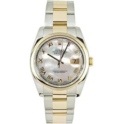 Rolex Mens 116203 Datejust Steel Oyster Band, Smooth Bezel & Mother of Pearl Roman Dial
