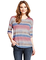 Indigo Collection Modal Blend Ombre Striped T-Shirt