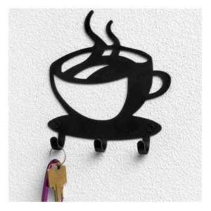 Coffee House Cup Java Silhouette Wall Mounted Key Hook Art Metal Mug Home Decor
