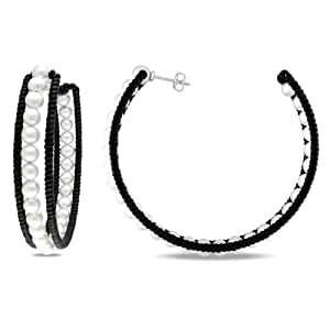 Sterling Silver Freshwater White Pearl and black leather Hoop Earrings (4.5mm)