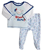 ABSORBA Baby-Boys Newborn Baseball 2 Piece Footed Pant Set, Blue Print, 6-9 Months